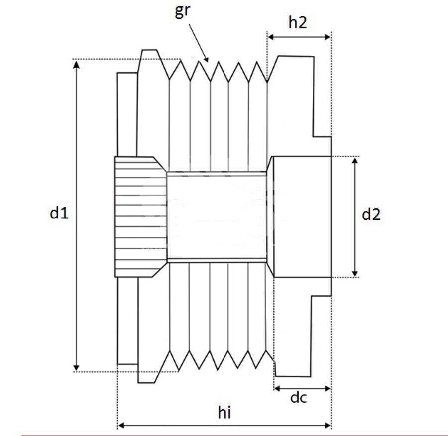 Шкив генератора обгонныйKRAUF APV3590DD (233590)