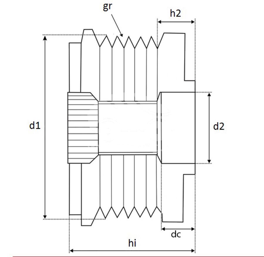 Шкив генератора обгонныйKRAUF APF0163PN (APF0163PN)